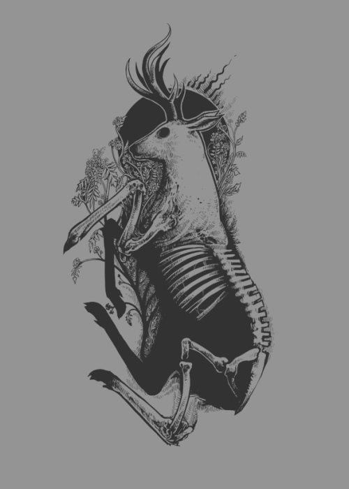 animal, black, bones, creature, dead, deer, drawing, flowers, gray, grey, horns, illustration, metal, nature, nourish, plants, t-shirt, tee, tshirt, wild