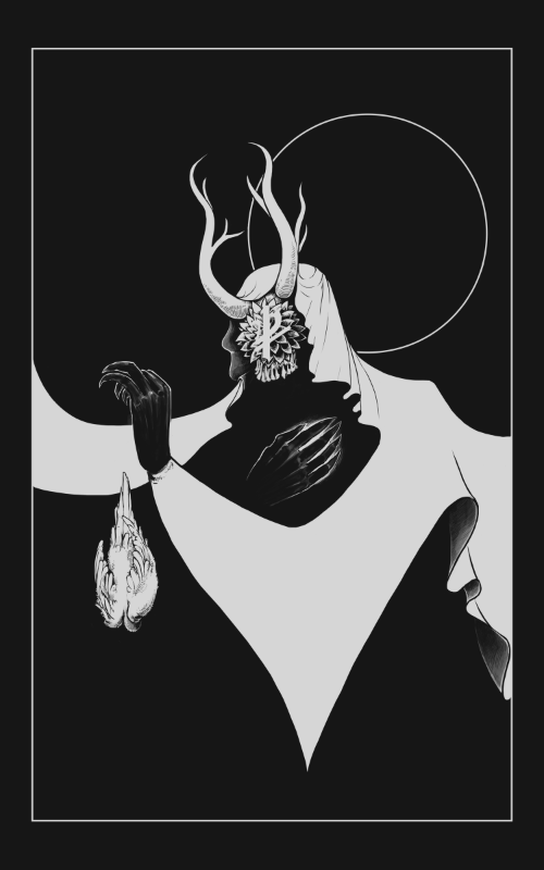 bird, black, cloth, death, dove, drawing, fabric, flower, flowers, gray, grey, hands, hood, horns, horn, illustration, metal, skill, stillness, symbol, teeth, white